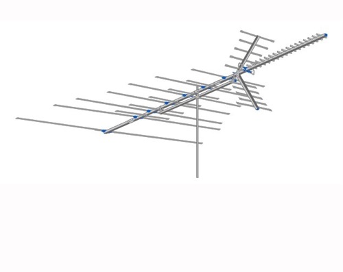 AntennaCraft C480 Colorstar UHF VHF FM TV Antenna 48 Element Deep Fringe Outdoor Television Aerial for Off-Air Local High Definition Digital Signal HDTV Reception, BLUE ZONE, Part # C-480 | With 50' FT Coax Cable