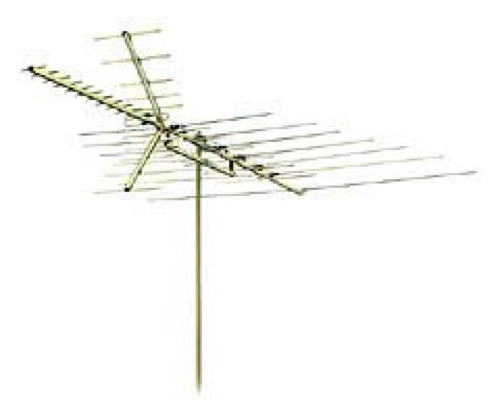 Philips Gemini 36 Element Antenna HDTV VHF / UHF / FM GEM360 Digital Outdoor HDTV Off-Air Local Channel Signal Ready Television Aerial, RED ZONE, Part # GEM-360 | With 50' FT Coax Cable