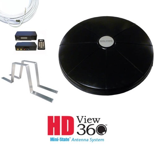 AntennaCraft HDMS9100RVBK Black HD View 360 Mini-State RV Omni Antenna System, Part #HDMS9100 RVBK
