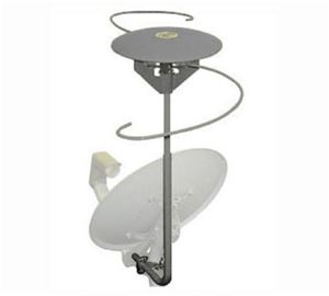 Satellite Dish Omni Directional Amplified HD TV Antenna with 2 Built-In Diplexers Outdoor EZ Dish HDTV Satellite Add-On VHF / UHF Off-Air Digital Local Signal Multi-Directional Aerial for Dual LNB Systems, Part # EZD-222