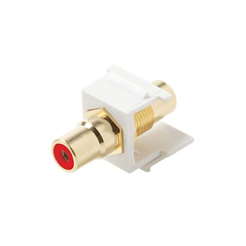 Steren 310-461WH-10 RCA Jack to Jack 10 Pack Keystone RED Band Insert White Jack QuickPort Audio Video Snap-In, Wall Plate Snap-In Data Junction Component Connection, Part # 310461-WH-10