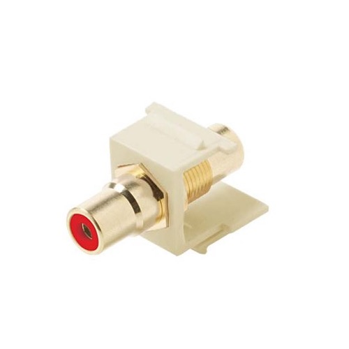 Steren 310-461AL RCA Jack Keystone Insert Almond with RED Band Gold Plate Female to Female QuickPort Audio Video Snap-In, Wall Plate Snap-In Data Junction Component Connection, Part # 310461-AL