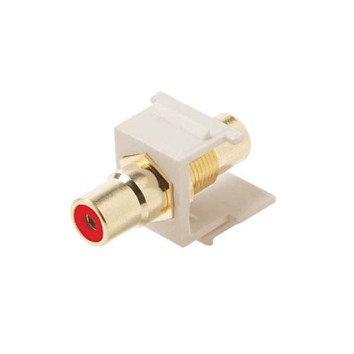 Steren 310-461LA RCA Jack to Jack Keystone RED Band Insert Light Almond Jack QuickPort Audio Video Snap-In, Wall Plate Snap-In Data Junction Component Connection, Part # 310461-LA