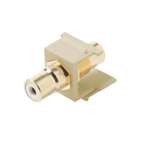 Steren 310-463IV-10 RCA Jack to Jack Ivory Keystone 10 Pack White Band Connector Jack Insert QuickPort Audio Video Snap-In, Wall Plate Snap-In Data Junction Component Connection, Part # 310463IV-10