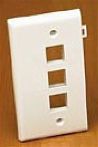 3 Port QuickPort Sectional Wall Plate White Keystone Flush Mount, Audio Video Data Junction Snap-In Jack Network Module, Part # Leviton 40813-W 40813W