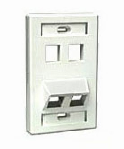 Leviton 40807-W 4 Port Keystone Wall Plate 4 Cavity Multi-Media Datacom QuickPort Angled Stress Relief Flush Mount, Junction Insert Data Plug Connection, UL Listed, White, Part # 40807W