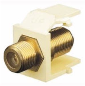 F-81 Keystone Insert QuickPort Gold Series Ivory Coax Cable 75 Ohm Snap-In Connector Gold Audio Video Jack Leviton 40831-I Data Junction Flush Mount Wall Plate Component Plug, Part # 40831I