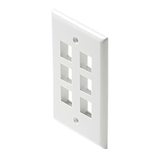 Eagle 6 Port Keystone Wall Plate White 5 Pack QuickPort Flush Mount, Audio Video Modular Telephone Data Plug Connection