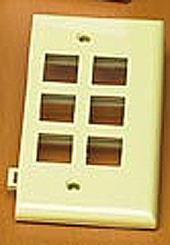Leviton 40816-I 6 Port Sectional Wall Plate QuickPort / Keystone Flush Mount, Audio Video Data Junction Snap-In Network Telecommunication Module, Ivory, Part # 40816I