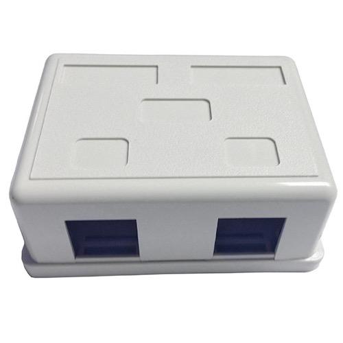 Summit Surface Mount Box 2 Port Jack Block White Plastic Junction Box Modular Network Device Phone Data Outlet