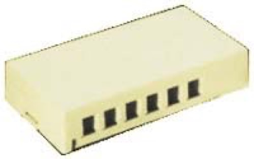 6 Port Keystone Surface Mount Jack Block Junction Box Ivory QuickPort Audio Video Data Snap-In Network Modules Housing, Part # Leviton 40826-I, 40826I