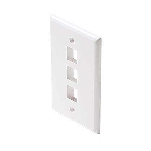 Leviton 40803-W 3 Port Mount Wall Plate White QuickPort / Keystone Flush Easy Audio Video Data Junction Component Snap-In Connection, Part # 40803W