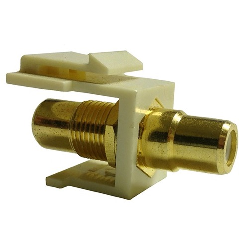 RCA Keystone Jack Insert Almond Gold White Band Female to Female Band A/V Connector RCA QuickPort Audio Video Snap-In, Wall Plate Snap-In, Part # PET11-0995