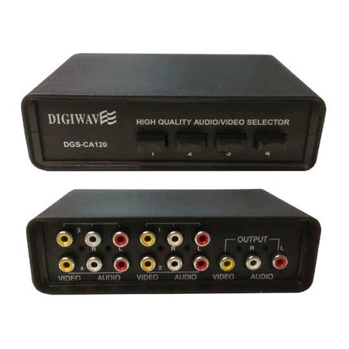 Eagle 4-Way Video Audio Selector Switch RCA Stereo 4 Input RCA 1 Output RCA Audio Stereo Output Manual High Quality Unit Push Button Selector Switch Composite A/V Plug Connection 4x1