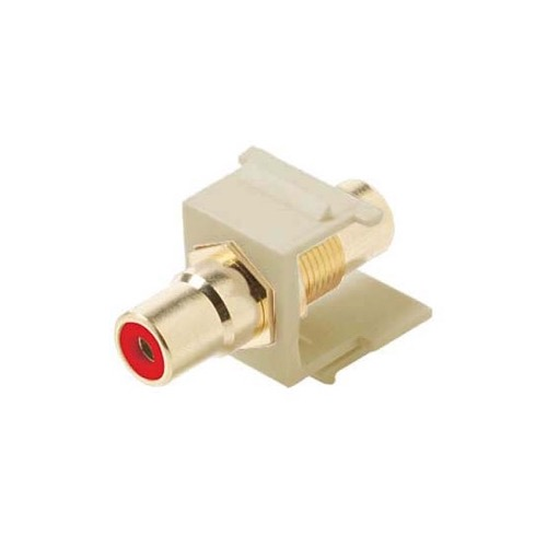 Eagle RCA Keystone Jack Female to Female Ivory Red Band Gold Insert Connector Ivory QuickPort Audio Video Snap-In Wall Plate Snap-In Data Junction Component Connection