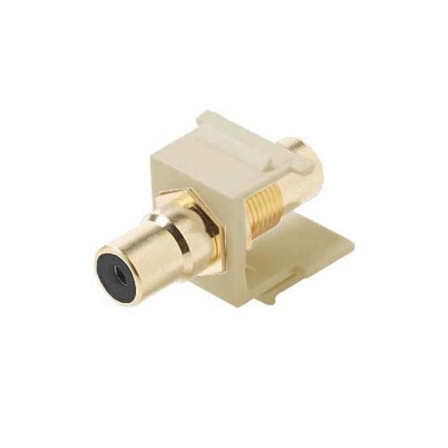 Eagle RCA Keystone Jack Ivory BLACK Band Female to Female Insert Gold Connector Ivory QuickPort Audio Video Snap-In, Wall Plate Snap-In Data Junction Component Connection