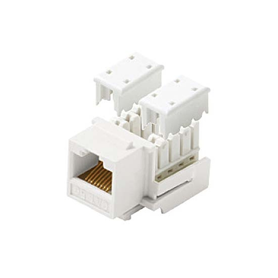 Steren 310-120WH-10 CAT5e RJ45 Keystone Insert Jack White 10 Pk Modular Ethernet RJ-45 Connector CAT 5e Network 8P8C 8 Wire Twisted Pair Modular Telephone Wall Plate Snap-In Insert Data Telecom, Part # 310120-WH-10