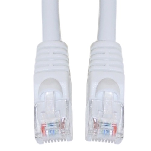 Eagle 7' FT CAT5e Patch Cord Cable White 350 MHz UTP Snagless Ethernet Booted Network with RJ45 Male Each End Gold Flush Molded Booted RJ-45 24 AWG Copper Stranded Enhanced High Speed Ethernet Data Computer Gaming Jumper