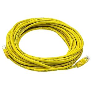 Eagle 7' FT CAT5e Patch Cord Cable Yellow Snagless 350 MHz 24 AWG Copper Booted RJ-45 Lan Enhanced Category 5 Patch Cables RJ45 for High Speed Ethernet Data / Telephone Audio Signal