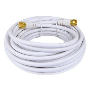 Steren 205-030WH 25' FT RG59 Coaxial Cable White with Gold Male F-Connector Each End Factory Installed 75 Ohm RG-59 Coax Audio Video Signal Component Shielded TV Jumper, Part # 205030-WH