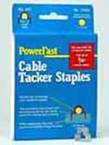 "PowerFast Cable Tacker Staples 5/32"" Clip Strap Audio Video Speaker Sound Cat 5e Data Wire Staple Clips Straps, Low Voltage, 625 Pack, Part # 31010"