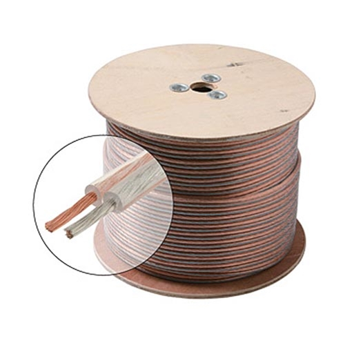 Steren 255-416 500' FT 16 AWG GA 2 Conductor Speaker Cable Wire Clear Oxygen Free Ultra Flexible Python Copper 16-2 Jacket Audio Speaker Cable Stranded 2 Conductor Polarized 2-Wire Speaker Cable, Part # 255416