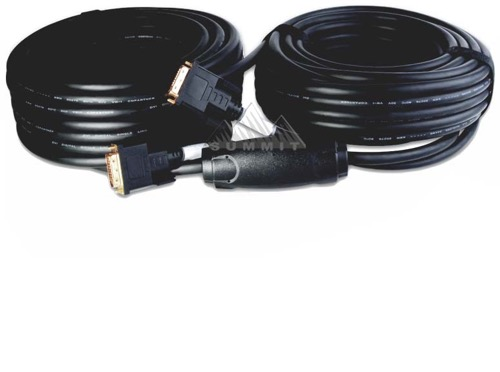 Vanco Blue Jet DVI18100 DVI-D to DVI-D Video Cable Single Link 100' FT with RPTR Male to Male 1080p HDTV 18 Pin 24K Gold Plate 24 AWG Triple Layer Shielding Dual Oxygen Free Copper 1920x1080 4.95 Gbps UL CLE Rated, Part # DVI-18100