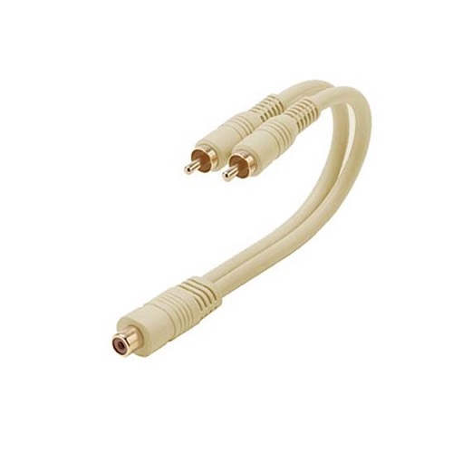 "Steren 254-207IV 6"" Inch Python 1 RCA Female 2 RCA Male Cable Y Splitter Ivory Gold Plate Home Theater Jack Splitter Adapter Fully Molded Heavy Duty Ultra Flex PVC Jacket Interconnect Cable, Part # 254207-IV"