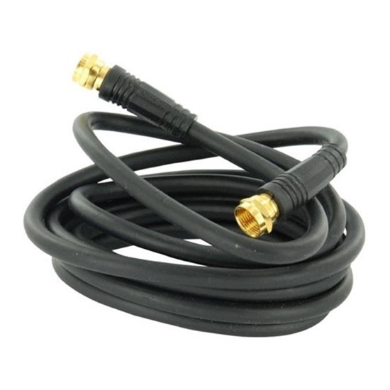 Eagle 6' Foot Coaxial Cable Black Jumper RG59 Coax RG-59 Audio Video Signal Component 75 Ohm Shielded TV Jumper with Factory F Connectors and Molded Ends