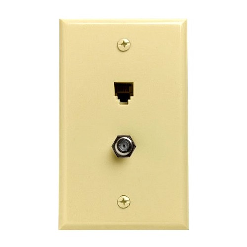 Leviton C2650I Wall Plate Telephone F Jack Coaxial 6 Conductor 6P6CRJ11 Ivory Video Phone Type Coax Combo 6-Wire F-81 Coax Cable Data Line Audio Signal Video 75 Ohm Coaxial Plug, 2 Device Outlet Cover, Part # C-2650-I