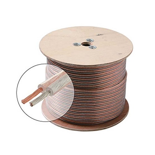 Steren Speaker Cable 18 AWG 2 Conductor Oxygen Free Wire Clear Jacket Audio Stranded Flexible Copper Polarized 2-Wire Bulk 18 Gauge Speaker Cable, 100 FT