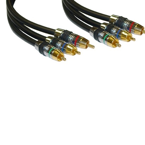 Axis 83201 1M Component Video Cable 3' FT 24K Gold Plated Contacts RCA 3 Male Each End Red Blue Green Triple RCA Audio Video Cable R/B/G Digital Signal Hook-Up Jumper with Plug Connectors, Part # 83201