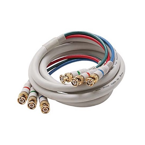 Eagle 6' FT BNC Cable 3 Male Ends Each End Double Shielded R/G/B Component HDTV Python Video Cable Ivory RGB 75 Ohm Audio Video Gold Y/Pr/Pb Pro Grade Color Coded Double High Density Signal Jumper