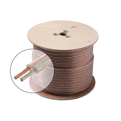 Eagle 500' FT Speaker Cable 18 AWG GA 2 Conductor Clear Oxygen Free Copper Jacket Spool Ultra Flexible Python 18-2 Jacket Audio Speaker Cable Stranded Polarized 2-Wire Speaker Cable