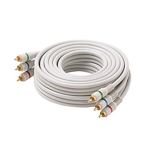 Steren 254-500IV 100' FT RCA Component Cable Python 3-Male Each End RGB Ivory Gold HDTV Color Coded Connectors Stereo Double Shielded 3-RCA Cable Digital Signal Jumper, Part # 254500-IV