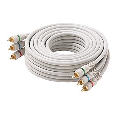 Steren 216-503IV 3' FT Python Component Video Cable 3 RCA Male Each End Double Shielded Ivory Heavy Duty Gold Plated Connectors Fully Molded Color Coded Digital Signal Jumper, Part # 216503-IV