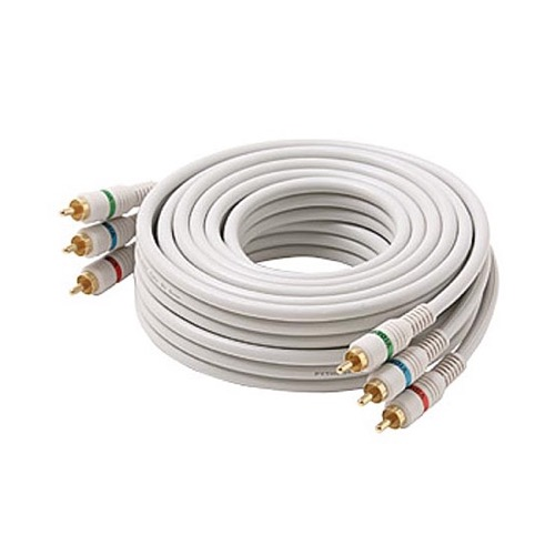 Steren 254-506IV 6' FT RCA Video Cable Component Ivory 3 RCA Male to 3 RCA Male Double Shielding Color Coded Gold Plated Connectors Python 3-RCA Cable Digital Signal Jumper, Part # 254506-IV