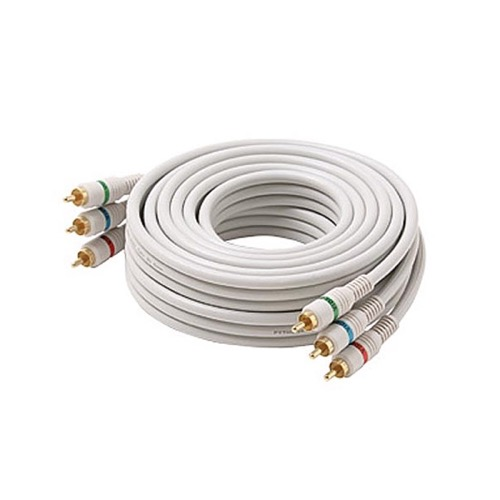 Steren 216-512IV 12' FT RCA Video Cable Component Ivory 3 RCA Male to 3 RCA Male Double Shielding Color Coded Gold Plated Connectors Python Cable Stereo Double Shielded 3-RCA Cable Digital Signal Jumper, Part # 216512-IV