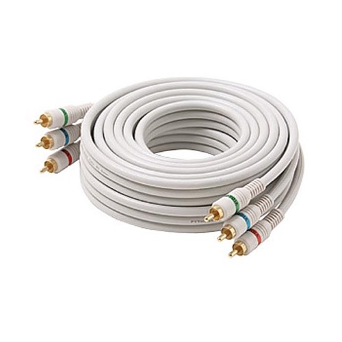 Steren 254-575IV 75 FT 3 RCA Male Component Cable Python Gold RGB 3-Male Each End Ivory HDTV Color Coded Connectors Stereo Double Shielded 3-RCA Cable Digital Signal Jumper, Part # 254575-IV
