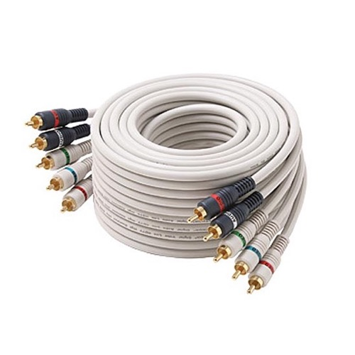 Steren 254-625IV 25' FT Component Video Audio Cable Stereo 5-RCA Male Each End Ivory 24 K Gold Plate Color Coded Python Double Shielded 5- RCA Audio Video Cable Digital Signal Hook-Up Jumper, Part # 254625-IV