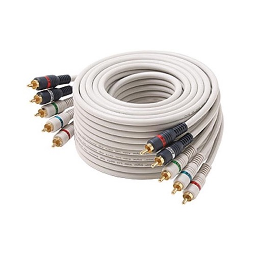 Eagle 50' FT 5-RCA Male Component Video Audio Ivory Ribbon Color Coded RGBRW Gold Plated Connectors Python Cable Stereo Double Shielded 5- RCA A/V Cable Digital Signal Jumper