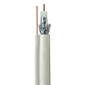 Eagle RG6 Coaxial Cable 100' FT White with Ground Wire Messenger 3 GHz Copper Clad Steel CCS UL CM Digital HDTV Satellite Bulk Cable Roll 18 AWG Outdoor Suspension Drop Digital Video Signal Cable