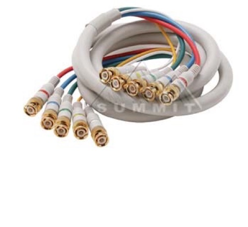 Eagle 25' FT Python HDTV Component Cable 5-BNC to 5-BNC Male Ivory Gold Video Audio RGBYW Pro Grade Color Coded Double High Density Shield BNC - BNC Digital Component Signal Jumper