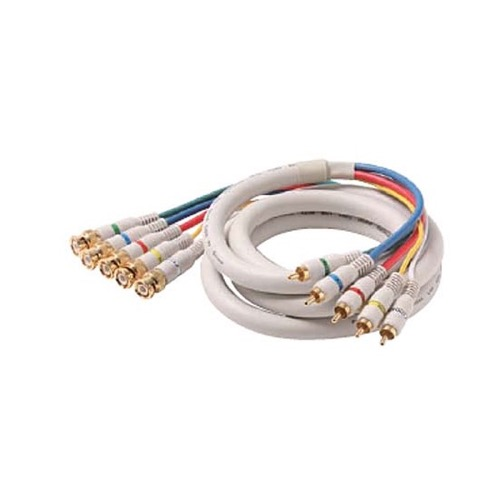 Steren 254-925IV 25' FT Python HDTV Component Cable 5-BNC to 5-RCA Male Ivory Gold Video Audio RGBYW Pro Grade Color Coded Double High Density Shield BNC - RCA Digital Component Signal Jumper, Part # 254925-IV