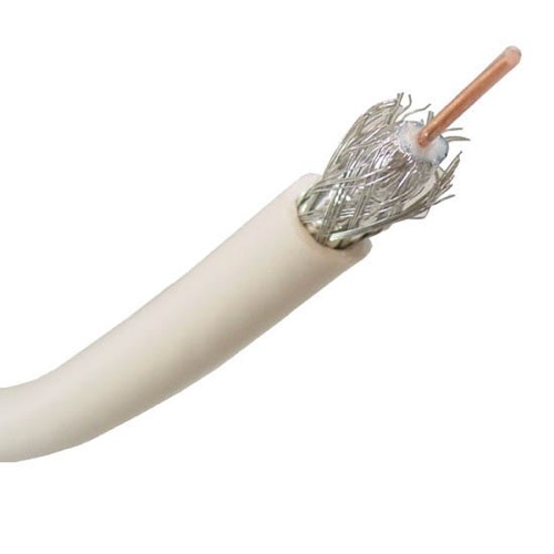 Steren 200-936WH RG-6 Quad Coaxial Cable White 3 GHz 18 AWG Solid Copper Center Conductor UL Listed Shielded Full Sweep RG6 Series 6 Drop Satellite Audio Video HDTV Digital Signal Cable, Per Foot, Part # 200936-WH