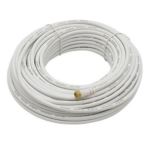 Steren 205-435WH RG6 High Grade Coaxial Cable 50' FT White 1xF to One Connector RG-6 with Factory Installed F Connectors Video TV Wire UL Listed Shielded / Braided Signal Cable, Part # 205435-WH