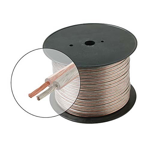 Eagle 500' Ft 12 AWG ga Speaker Cable Clear 2 Conductor Pure Copper Home Theater General 12 Gauge Clear Bulk 2 Wire Clear Jacket 12/2 Conductor HI-FI Digital Audio Home Theater