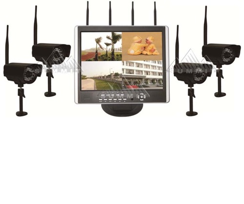 "Precision DVR LCD 4 Channel Wireless Surveillance System 2.4 GHz Digital Transmission Camera Frequency Hopping Technology Video Recording with Built-In 15"" Monitor, Part # DVR-LCD4"