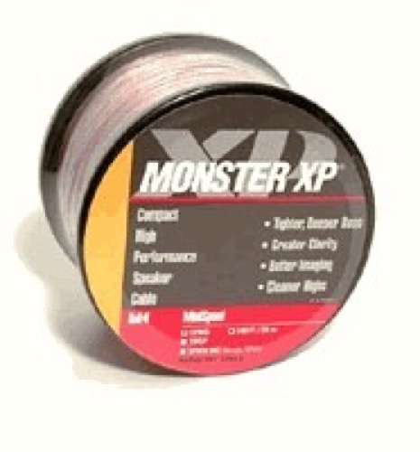 Monster Cable XP XPMS-50 Speaker Cable 50' Ft Clear 16 AWG 2 Conductor Digital Pure Copper AV Compact LPE Low Loss Audio Signal, Clear Jacket Mini Wire, Home Theater Sound Cables, Part # XPMS50