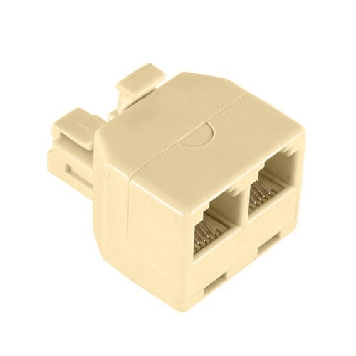 Leviton 2-Way Modular Phone Wall Adapter Splitter RJ11 Ivory Dual Splitter T Line RJ-11 Twin 2 Outlet  Telephone Plug Jack Duplex Converter Connection Snap-In, Part # C0247-I, C0247I